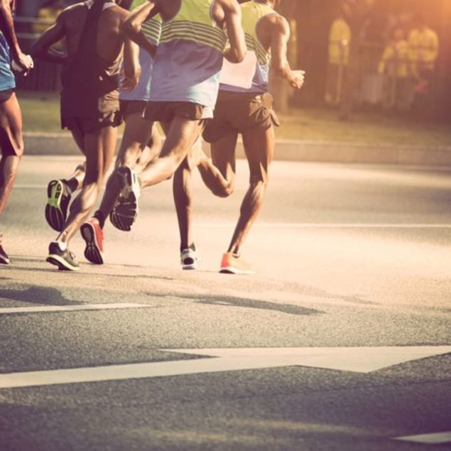 People running on the road